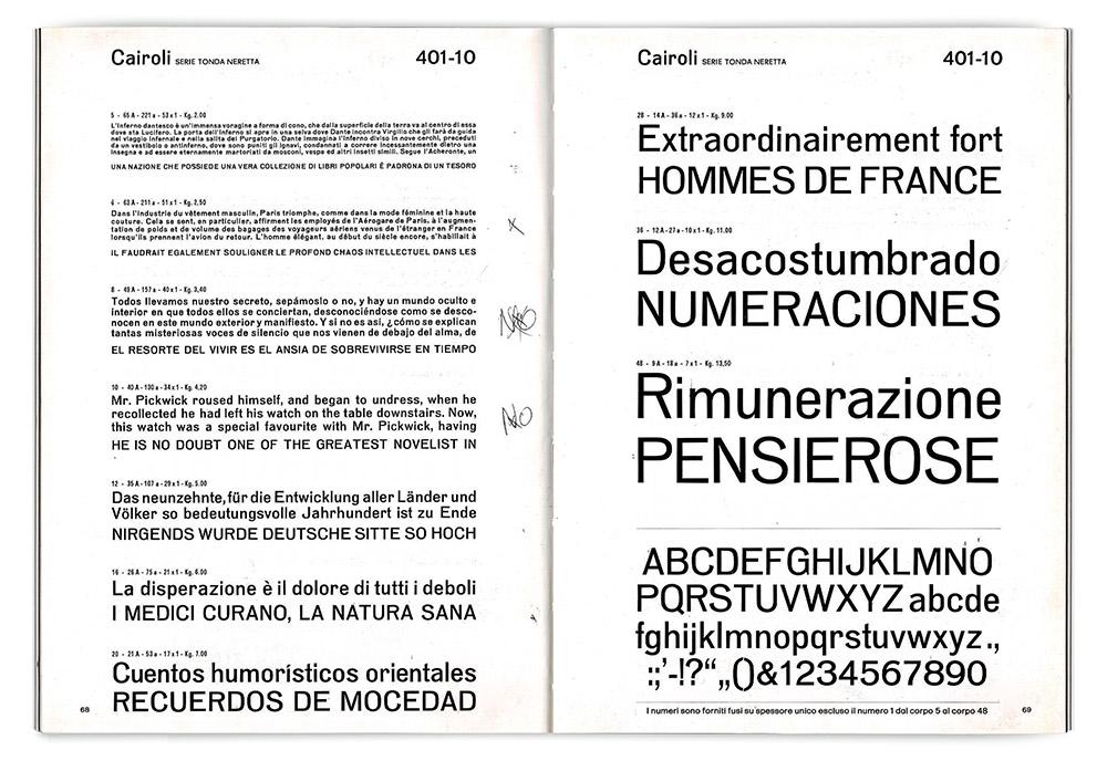 Specimen pages for Cairoli Tonda Neretta