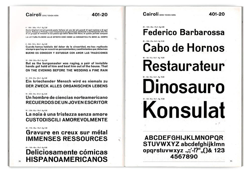 Specimen pages for Cairoli Tonda Nera