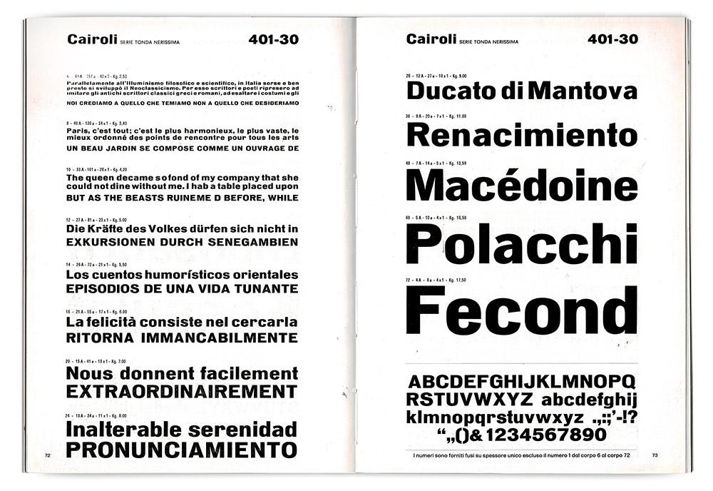 Specimen pages for Cairoli Tonda Nerissima